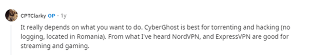 CyberGhost - Positive Comment- 1