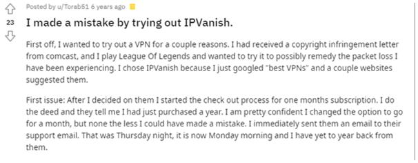 IPVanish - Negative Comment - 1