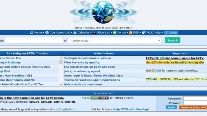 EZTV hmepage