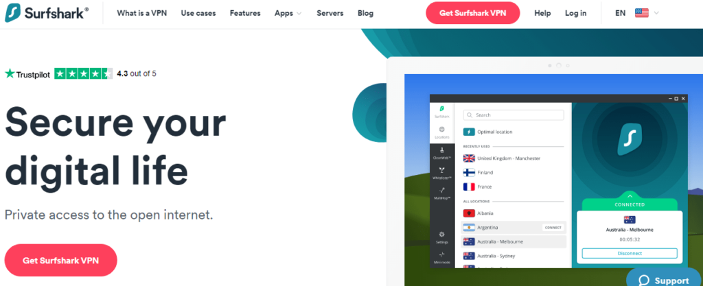 surfshark homepage
