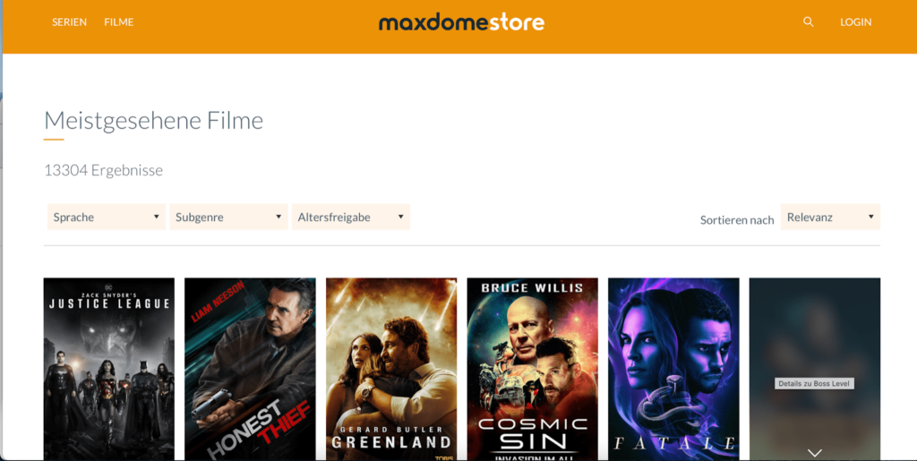 maxdome homepage