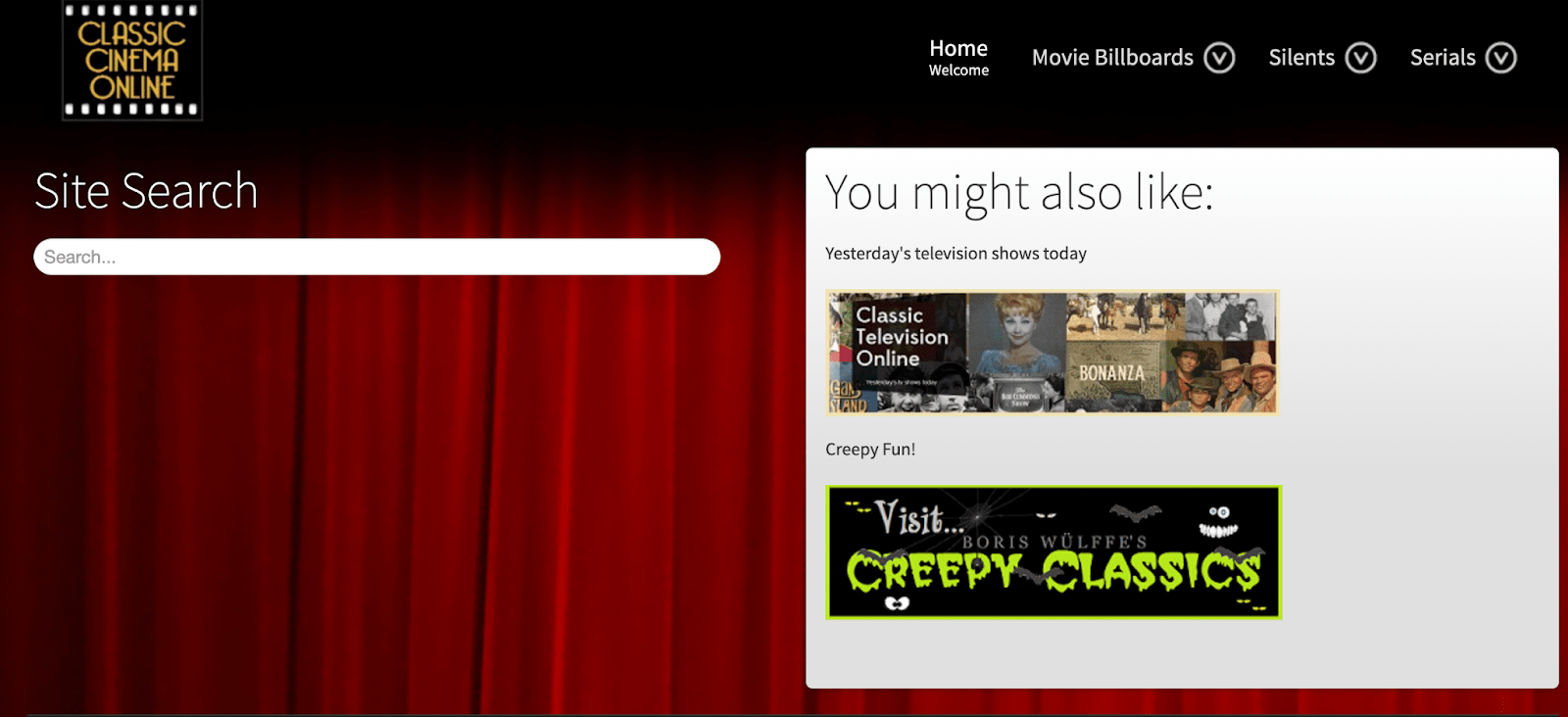 Classic Cinema Online banner