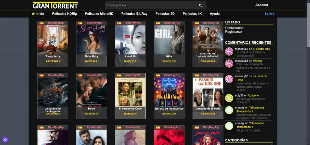 GranTorrent homepage