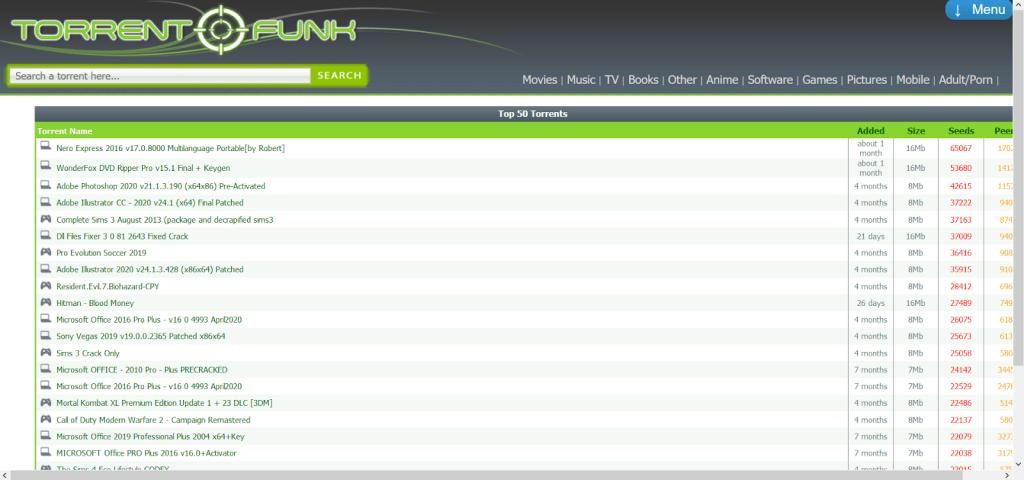 TorrentFunk homepage