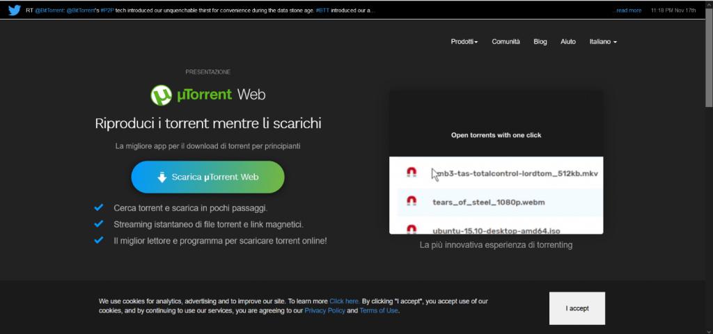 UTorrent homepage