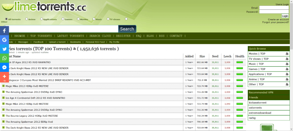 lime torrents homepage