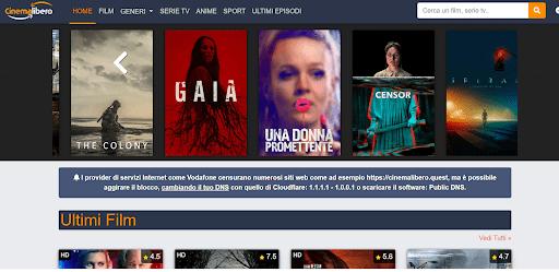 CinemaLibero homepage