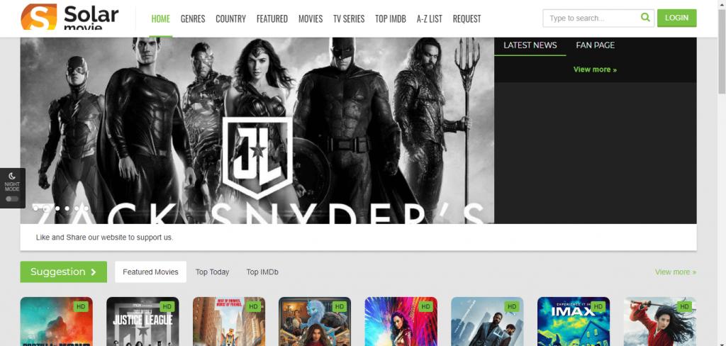 SolarMovie homepage