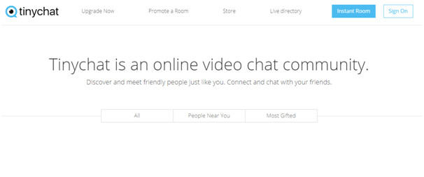TinyChat homepage