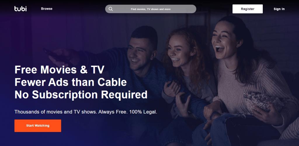 Tubi TV homepage