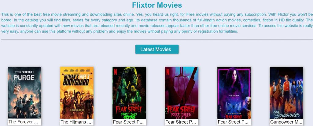 Flixtor homepage